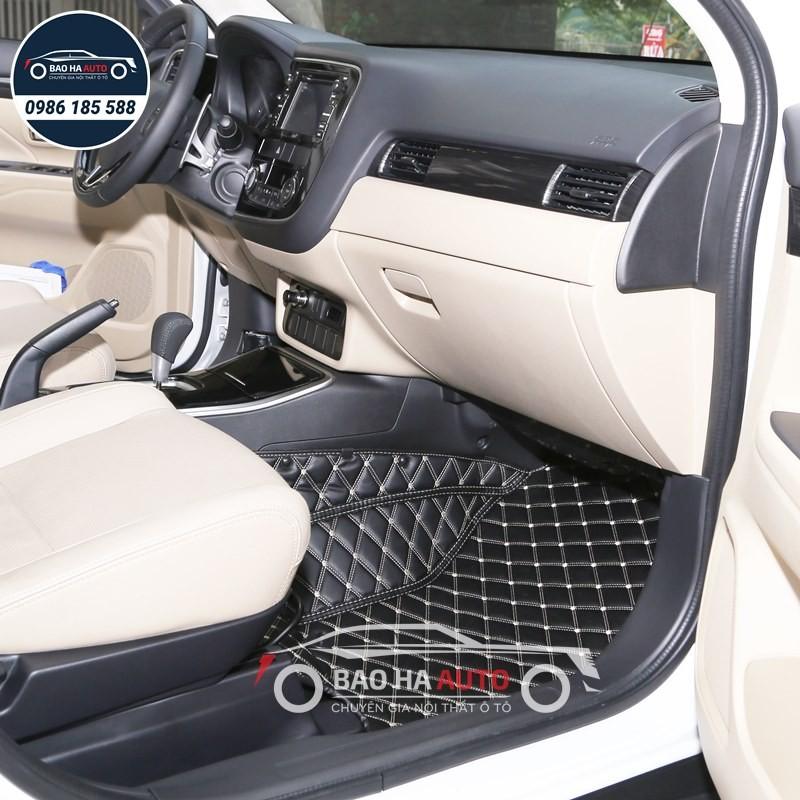 Thảm lót sàn ô tô da carbon cho xe Mitsubishi