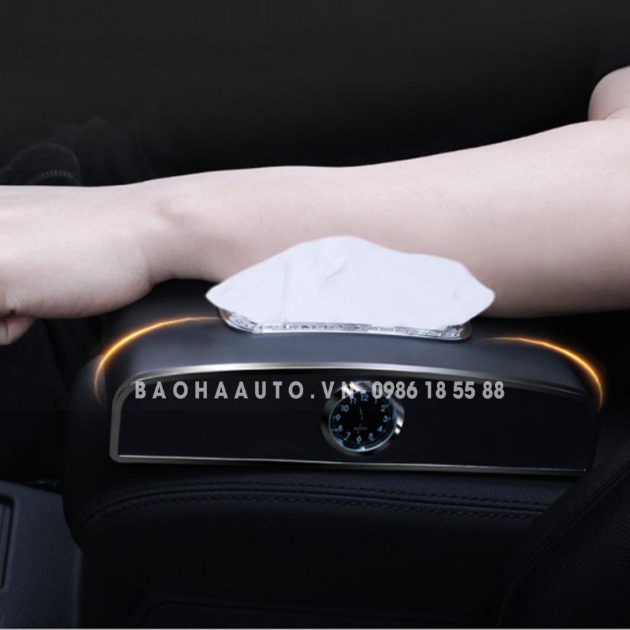 Hộp đựng khăn giấy ô tô có đồng hồ kèm bảng số điện thoại
