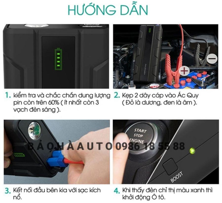 Pin dự phòng kích bình ô tô Ravpower 14.000mAh, 1000A