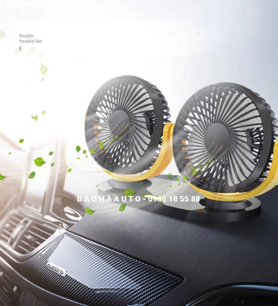 Quạt ô tô 12V (quạt đơn, quạt đôi xoay 720 độ) đẹp, chất lượng.