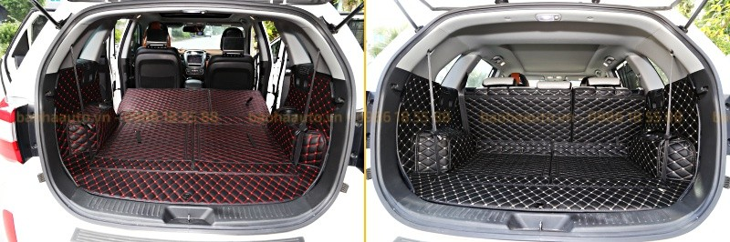Thảm lót cốp ô tô da carbon 5D cao cấp xe KIA