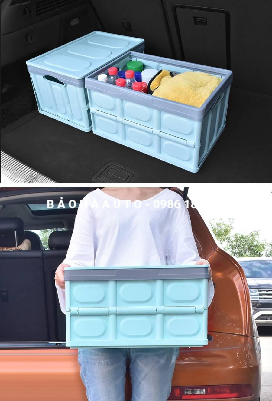 Thùng nhựa đựng đồ xếp gọn 55L cho ô tô (loại dày chịu lực 60kg)